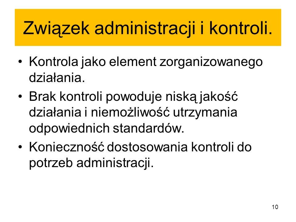 Związek administracji i kontroli. Kontrola jako element zorganizowanego działania. Brak kontroli powoduje niską jakość działania i niemożliwość utrzym