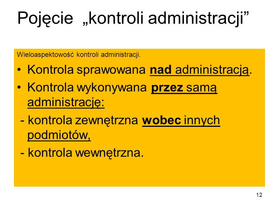 Pojęcie kontroli administracji Wieloaspektowość kontroli administracji. Kontrola sprawowana nad administracją. Kontrola wykonywana przez samą administ