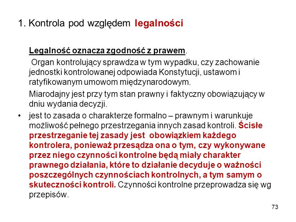 1. Kontrola pod względem legalności Legalność oznacza zgodność z prawem. Organ kontrolujący sprawdza w tym wypadku, czy zachowanie jednostki kontrolow