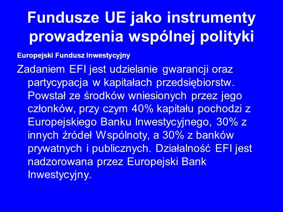 Fundusze UE jako instrumenty prowadzenia wspólnej polityki Europejski Fundusz Inwestycyjny Zadaniem EFI jest udzielanie gwarancji oraz partycypacja w