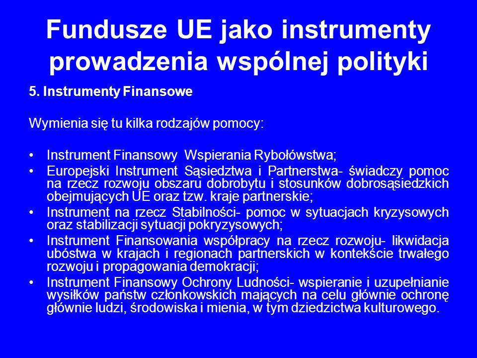 Fundusze UE jako instrumenty prowadzenia wspólnej polityki 5. Instrumenty Finansowe Wymienia się tu kilka rodzajów pomocy: Instrument Finansowy Wspier