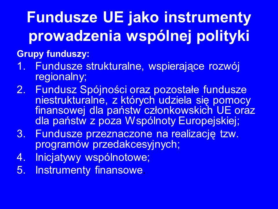 Fundusze UE jako instrumenty prowadzenia wspólnej polityki 1.Fundusze strukturalne Wspiera następujące cele: osoby bezrobotne; rolnicy; instytucje wspierania biznesu; przedsiębiorcy i przedsiębiorstwa; jednostki samorządu terytorialnego; administracja publiczna; infrastruktura publiczna.