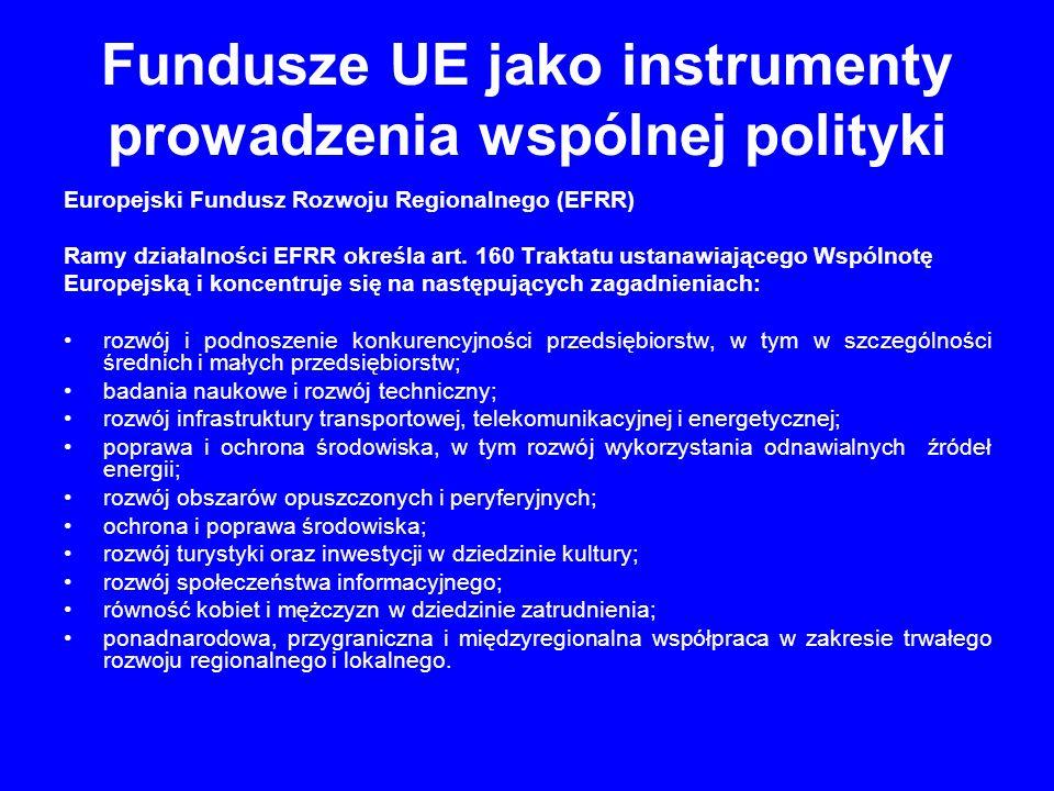 Fundusze UE jako instrumenty prowadzenia wspólnej polityki Europejski Fundusz Społeczny (Socjalny) Powstał na podstawie art.