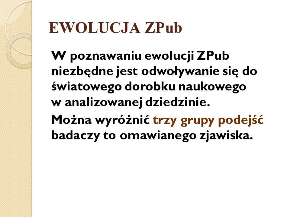 EWOLUCJA ZPub W poznawaniu ewolucji ZPub niezbędne jest odwoływanie się do światowego dorobku naukowego w analizowanej dziedzinie.