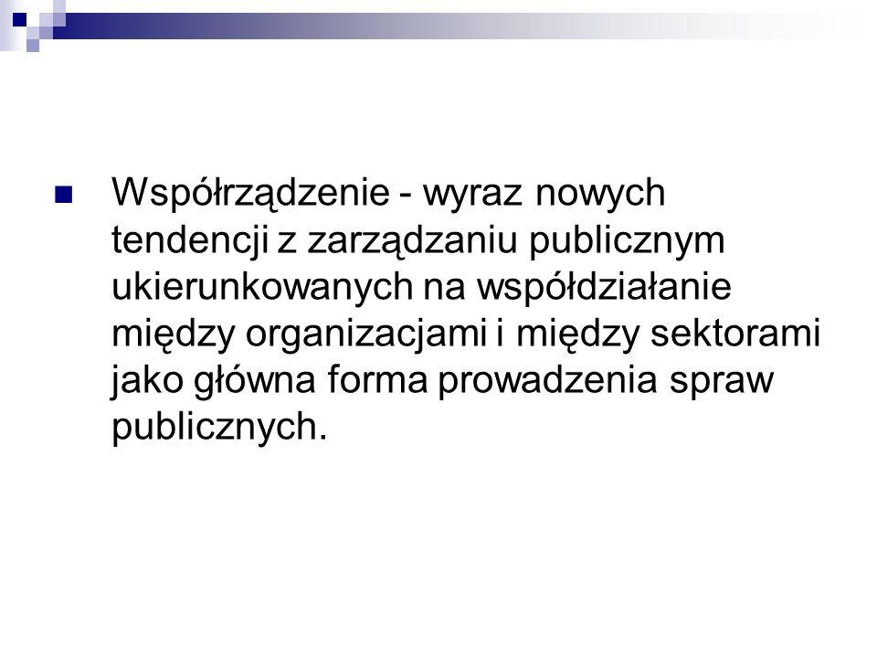 Współrządzenie - wyraz nowych tendencji z zarządzaniu publicznym ukierunkowanych na współdziałanie między organizacjami i między sektorami jako główna