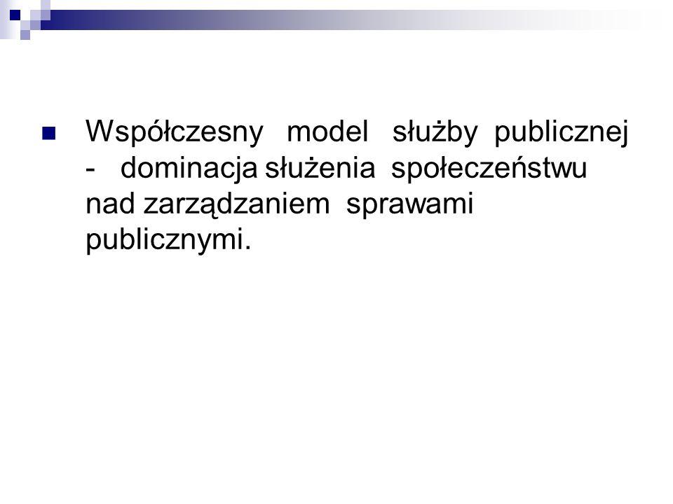 Współczesny model służby publicznej - dominacja służenia społeczeństwu nad zarządzaniem sprawami publicznymi.