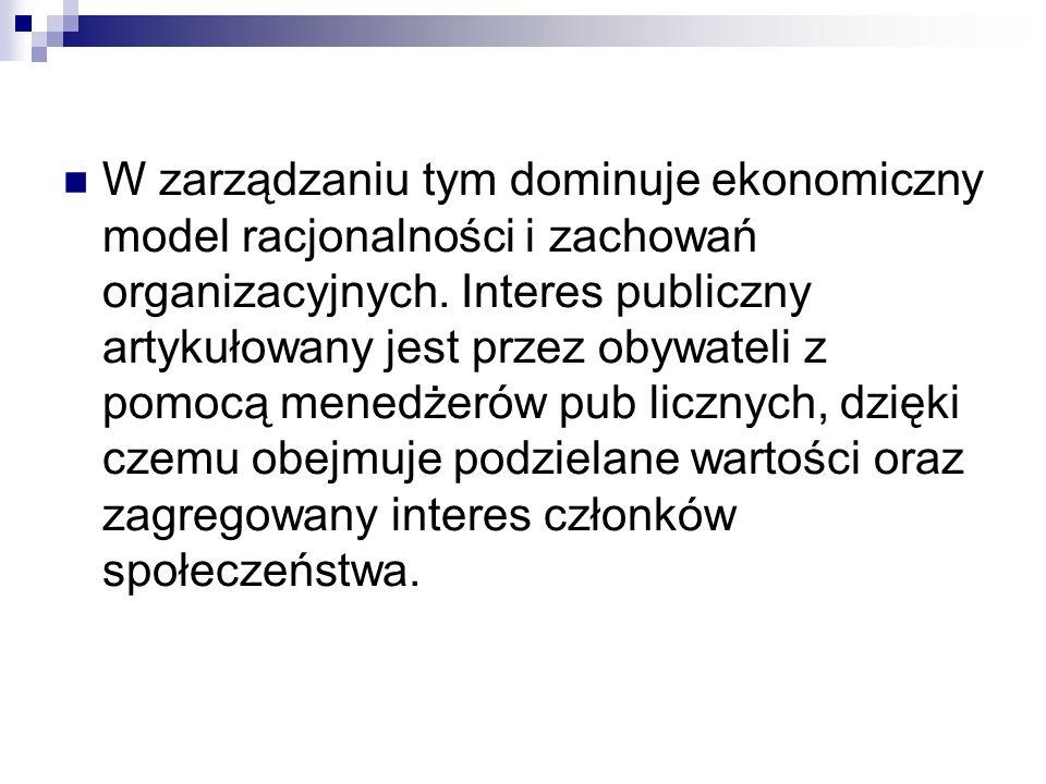 W zarządzaniu tym dominuje ekonomiczny model racjonalności i zachowań organizacyjnych. Interes publiczny artykułowany jest przez obywateli z pomocą m