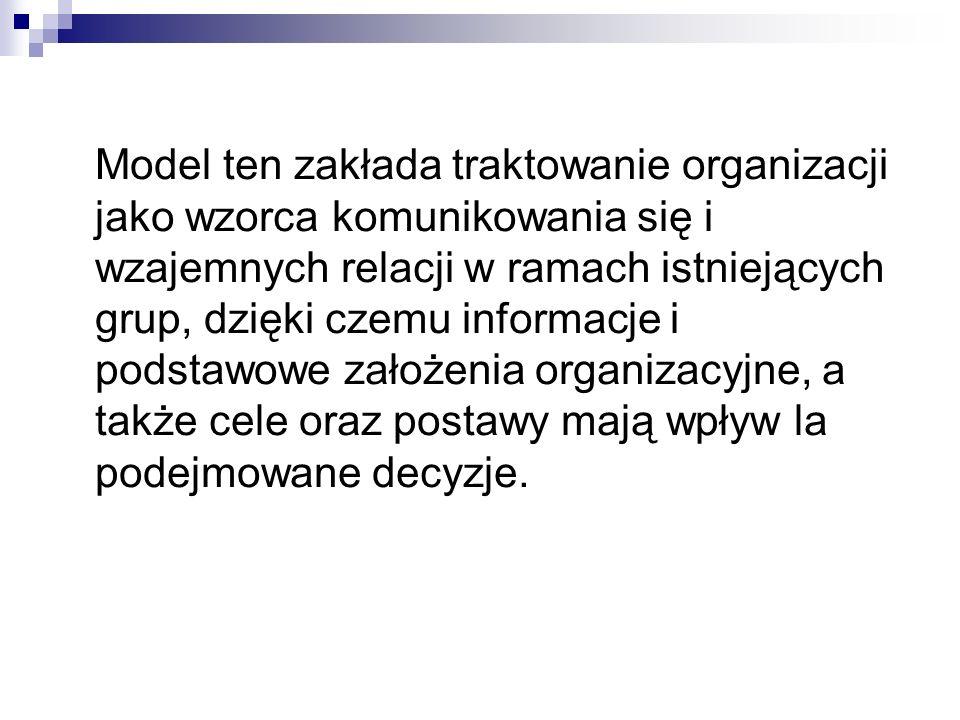 Model ten zakłada traktowanie organizacji jako wzorca komunikowania się i wzajemnych relacji w ramach istniejących grup, dzięki czemu informacje i pod