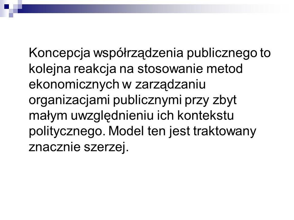 Koncepcja współrządzenia publicznego to kolejna reakcja na stosowanie metod ekonomicznych w zarządzaniu organizacjami publicznymi przy zbyt małym uwzg