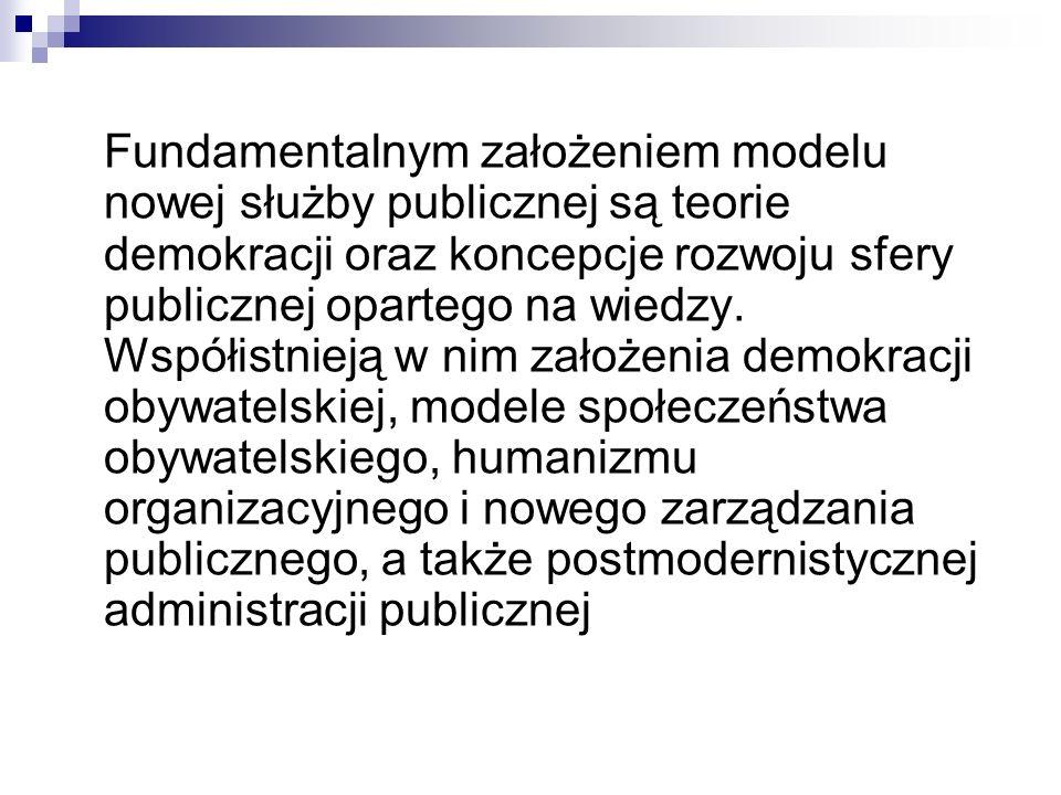 Fundamentalnym założeniem modelu nowej służby publicznej są teorie demokracji oraz koncepcje rozwoju sfery publicznej opartego na wiedzy. Współistniej