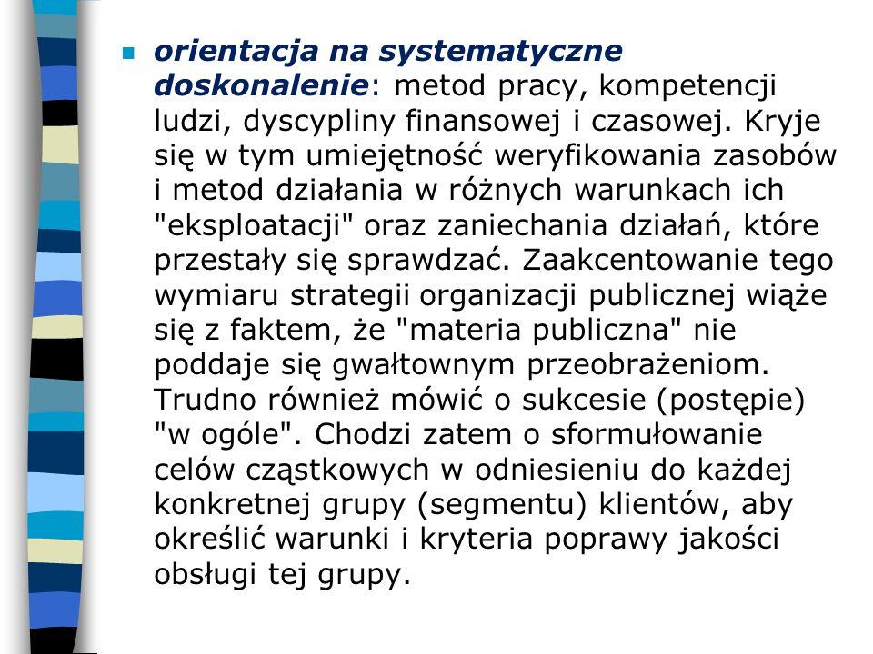 n orientacja na systematyczne doskonalenie: metod pracy, kompetencji ludzi, dyscypliny finansowej i czasowej. Kryje się w tym umiejętność weryfikowani