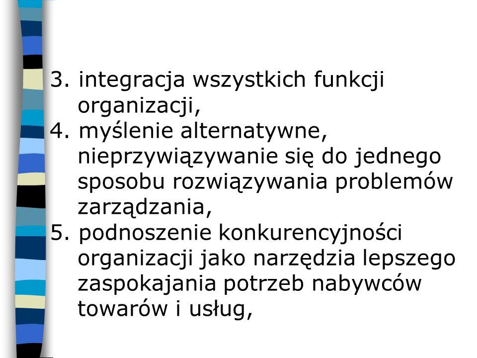 3. integracja wszystkich funkcji organizacji, 4. myślenie alternatywne, nieprzywiązywanie się do jednego sposobu rozwiązywania problemów zarządzania,