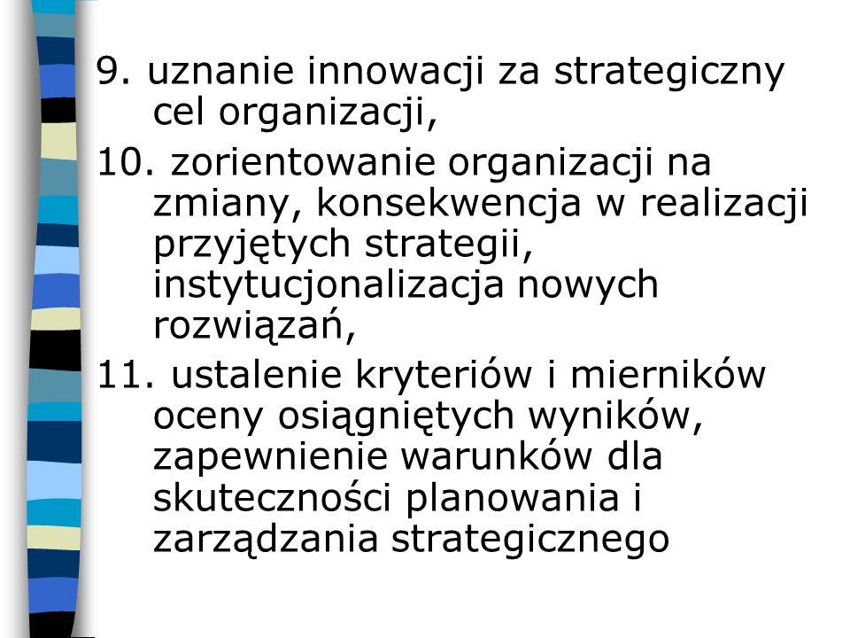 9. uznanie innowacji za strategiczny cel organizacji, 10. zorientowanie organizacji na zmiany, konsekwencja w realizacji przyjętych strategii, instytu