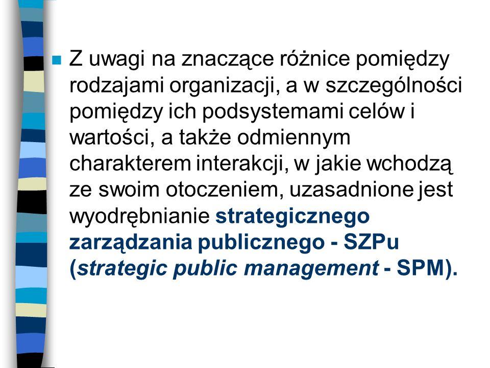 n Z uwagi na znaczące różnice pomiędzy rodzajami organizacji, a w szczególności pomiędzy ich podsystemami celów i wartości, a także odmiennym charakte