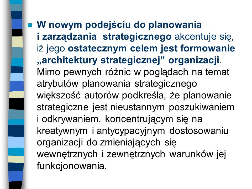 n W nowym podejściu do planowania i zarządzania strategicznego akcentuje się, iż jego ostatecznym celem jest formowanie architektury strategicznej org