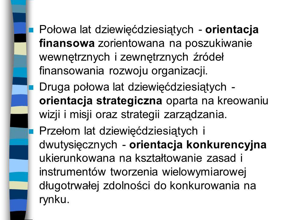 n Połowa lat dziewięćdziesiątych - orientacja finansowa zorientowana na poszukiwanie wewnętrznych i zewnętrznych źródeł finansowania rozwoju organizac