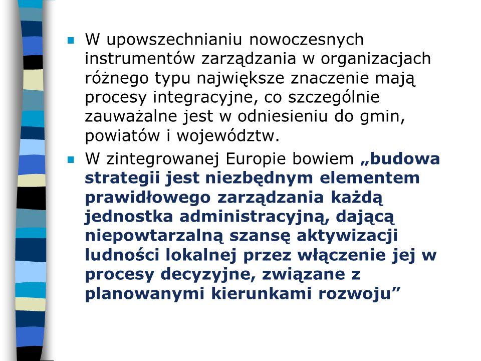 n W upowszechnianiu nowoczesnych instrumentów zarządzania w organizacjach różnego typu największe znaczenie mają procesy integracyjne, co szczególnie