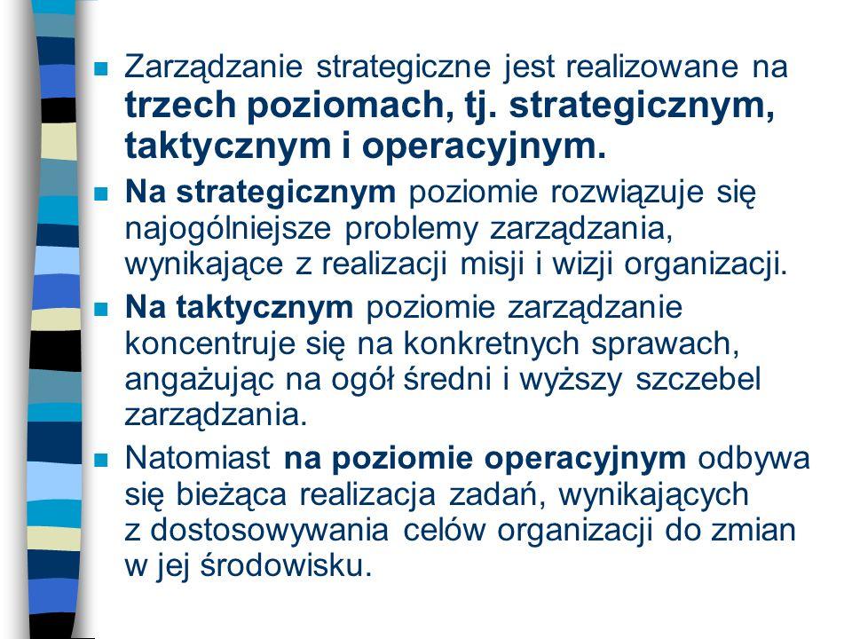 n Zarządzanie strategiczne jest realizowane na trzech poziomach, tj. strategicznym, taktycznym i operacyjnym. n Na strategicznym poziomie rozwiązuje s