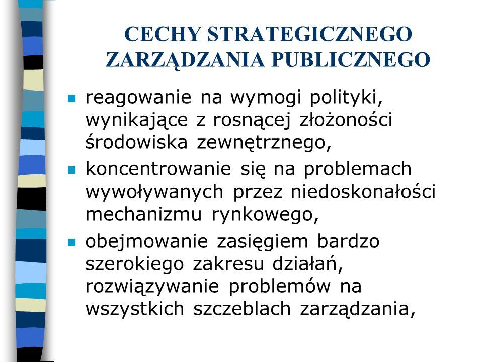 CECHY STRATEGICZNEGO ZARZĄDZANIA PUBLICZNEGO n reagowanie na wymogi polityki, wynikające z rosnącej złożoności środowiska zewnętrznego, n koncentrowan