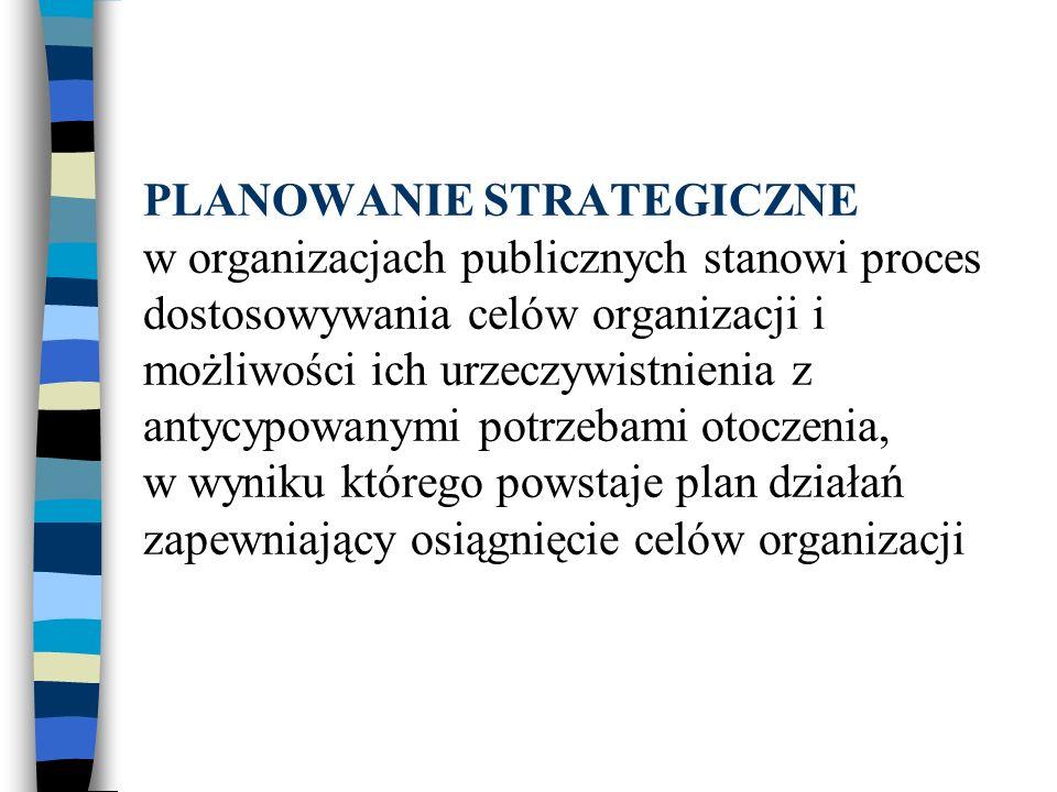 PLANOWANIE STRATEGICZNE w organizacjach publicznych stanowi proces dostosowywania celów organizacji i możliwości ich urzeczywistnienia z antycypowanym