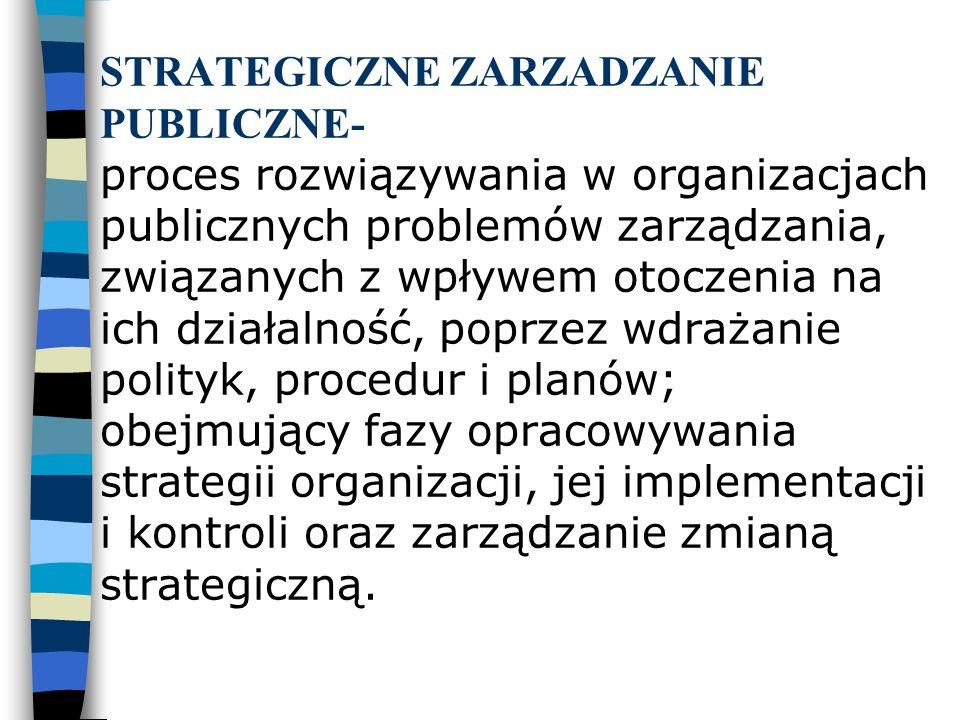 STRATEGICZNE ZARZADZANIE PUBLICZNE- proces rozwiązywania w organizacjach publicznych problemów zarządzania, związanych z wpływem otoczenia na ich dzia