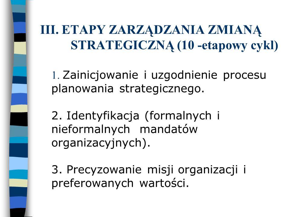 III. ETAPY ZARZĄDZANIA ZMIANĄ STRATEGICZNĄ (10 -etapowy cykl) 1. Zainicjowanie i uzgodnienie procesu planowania strategicznego. 2. Identyfikacja (form