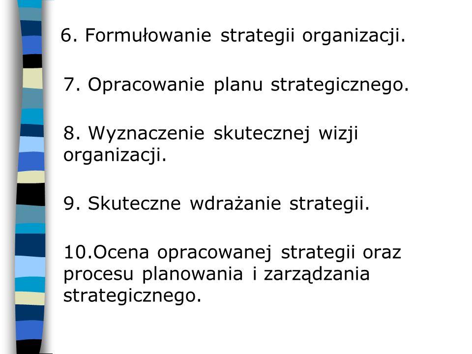 6. Formułowanie strategii organizacji. 7. Opracowanie planu strategicznego. 8. Wyznaczenie skutecznej wizji organizacji. 9. Skuteczne wdrażanie strate
