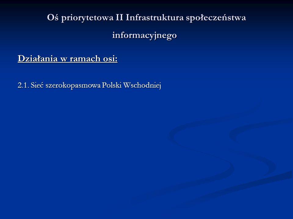 W ramach Priorytetu II Infrastruktura Społeczeństwa Informacyjnego będzie realizowane Działanie pod nazwą Sieć szerokopasmowa Polski Wschodniej składające się z dwóch komponentów: Budowa ponadregionalnej sieci szerokopasmowej składającej się z 5 regionalnych sieci szkieletowych województw Polski Wschodniej, Szkolenie osób zagrożonych wykluczeniem cyfrowym (jako uzupełnienie działania) do 10 % kosztów kwalifikowanych – cross financing.
