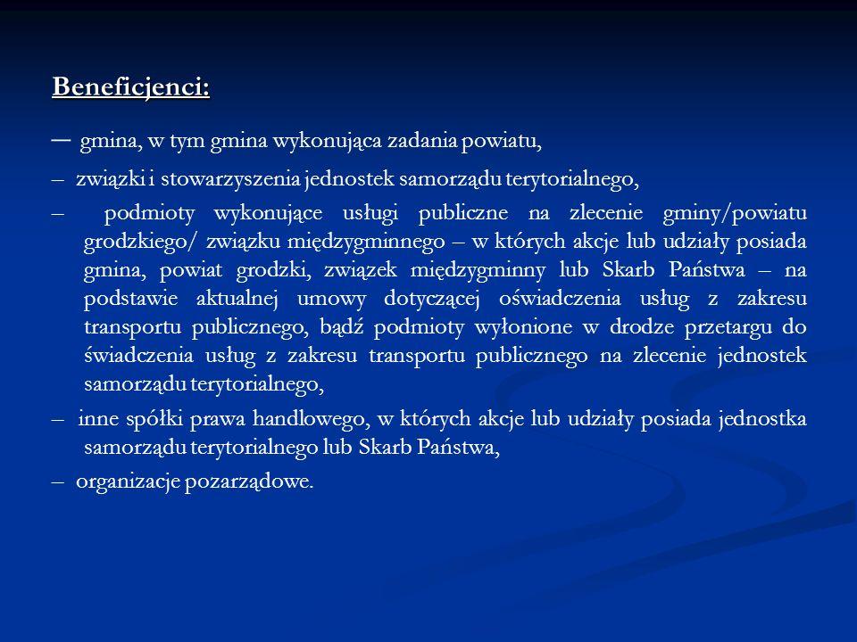Beneficjenci: – gmina, w tym gmina wykonująca zadania powiatu, – związki i stowarzyszenia jednostek samorządu terytorialnego, – podmioty wykonujące us