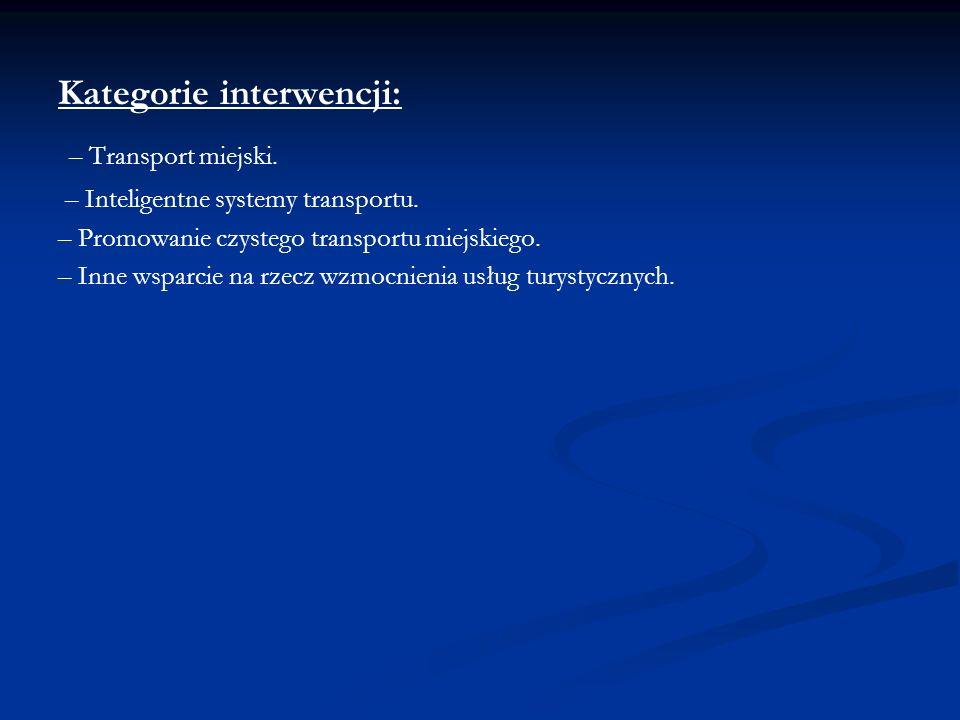 Kategorie interwencji: – Transport miejski. – Inteligentne systemy transportu. – Promowanie czystego transportu miejskiego. – Inne wsparcie na rzecz w