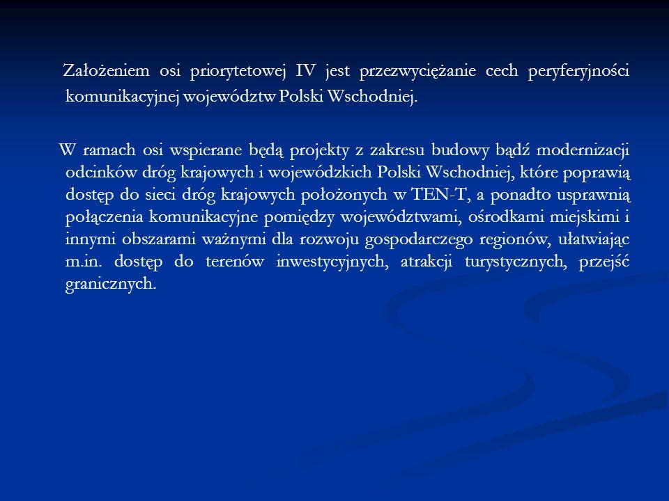 Założeniem osi priorytetowej IV jest przezwyciężanie cech peryferyjności komunikacyjnej województw Polski Wschodniej. W ramach osi wspierane będą proj