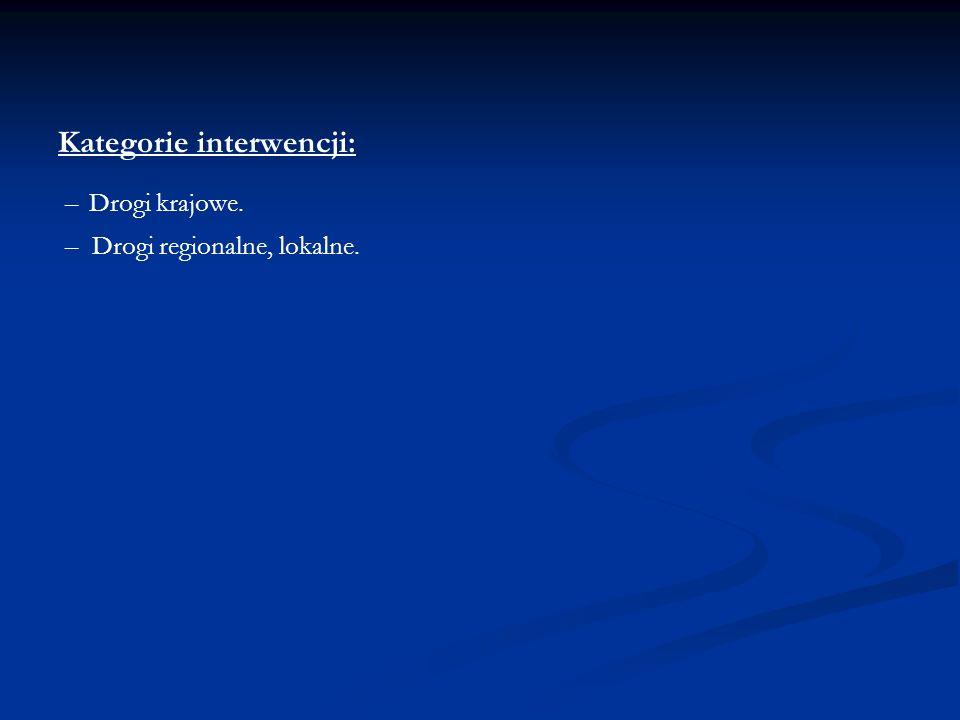 Kategorie interwencji: – Drogi krajowe. – Drogi regionalne, lokalne.
