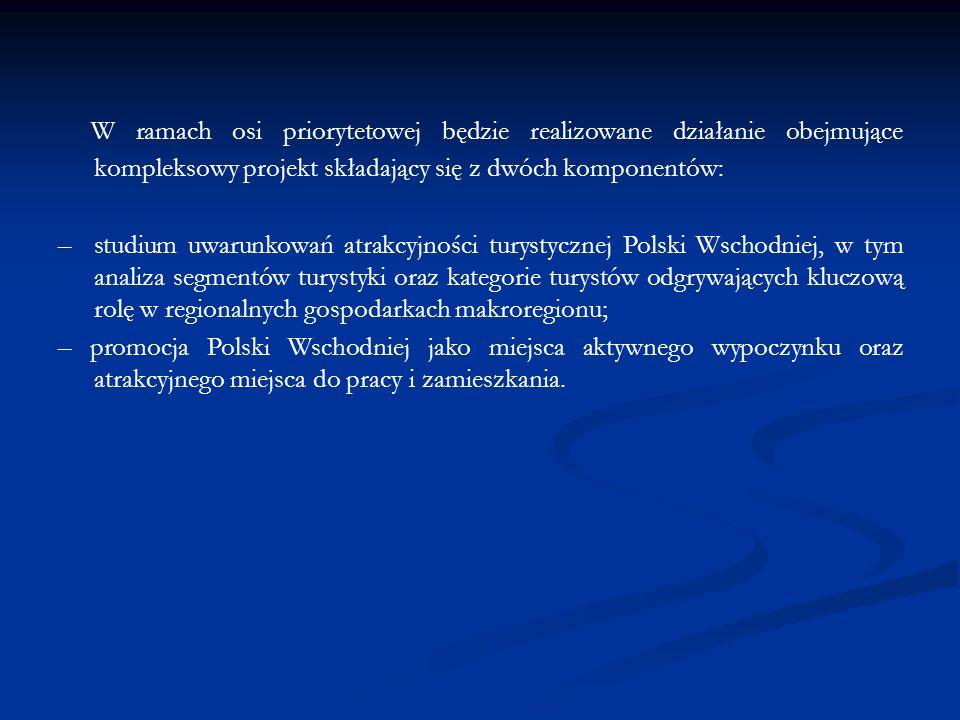 W ramach osi priorytetowej będzie realizowane działanie obejmujące kompleksowy projekt składający się z dwóch komponentów: – studium uwarunkowań atrakcyjności turystycznej Polski Wschodniej, w tym analiza segmentów turystyki oraz kategorie turystów odgrywających kluczową rolę w regionalnych gospodarkach makroregionu; – promocja Polski Wschodniej jako miejsca aktywnego wypoczynku oraz atrakcyjnego miejsca do pracy i zamieszkania.
