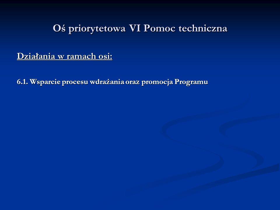 Oś priorytetowa VI Pomoc techniczna Działania w ramach osi: 6.1. Wsparcie procesu wdrażania oraz promocja Programu