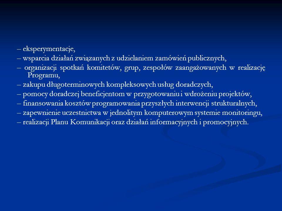 – eksperymentacje, – wsparcia działań związanych z udzielaniem zamówień publicznych, – organizacji spotkań komitetów, grup, zespołów zaangażowanych w realizację Programu, – zakupu długoterminowych kompleksowych usług doradczych, – pomocy doradczej beneficjentom w przygotowaniu i wdrożeniu projektów, – finansowania kosztów programowania przyszłych interwencji strukturalnych, – zapewnienie uczestnictwa w jednolitym komputerowym systemie monitoringu, – realizacji Planu Komunikacji oraz działań informacyjnych i promocyjnych.
