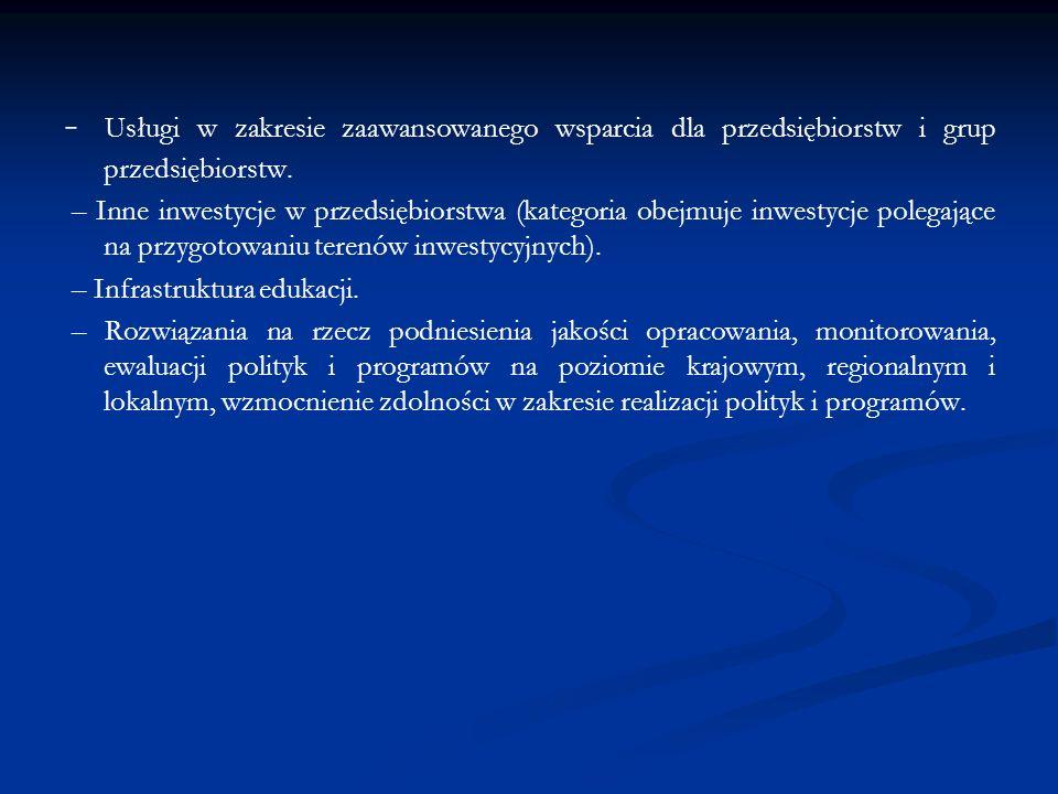 - Usługi w zakresie zaawansowanego wsparcia dla przedsiębiorstw i grup przedsiębiorstw.