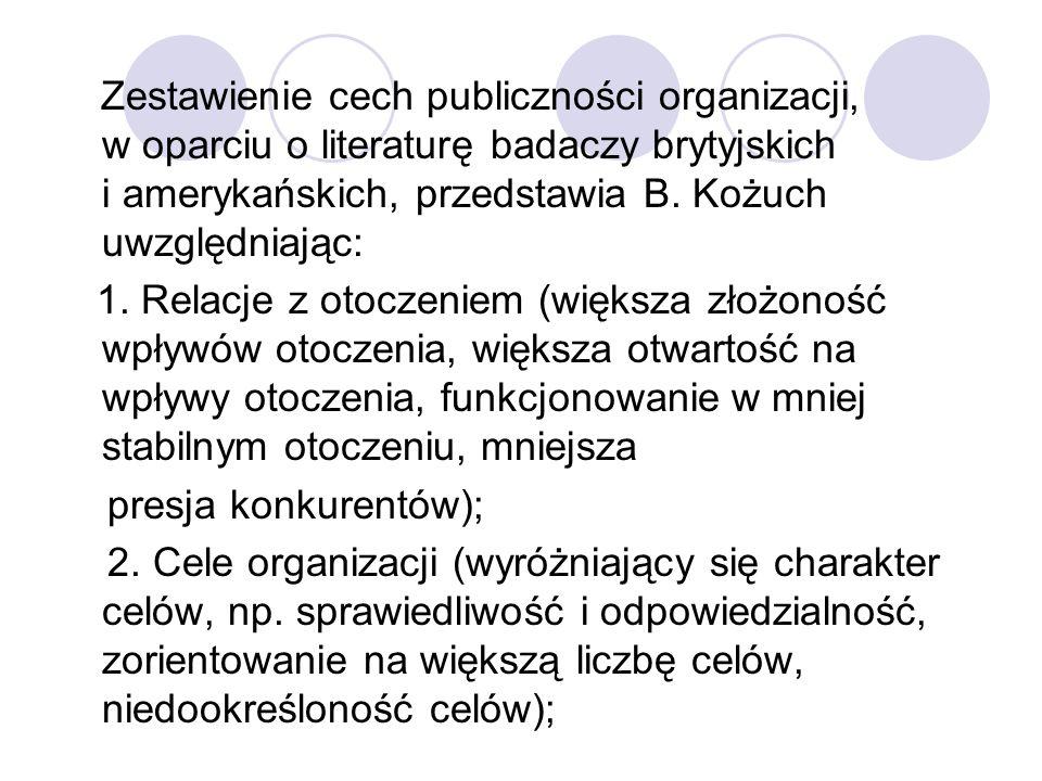 Zestawienie cech publiczności organizacji, w oparciu o literaturę badaczy brytyjskich i amerykańskich, przedstawia B. Kożuch uwzględniając: 1. Relacje