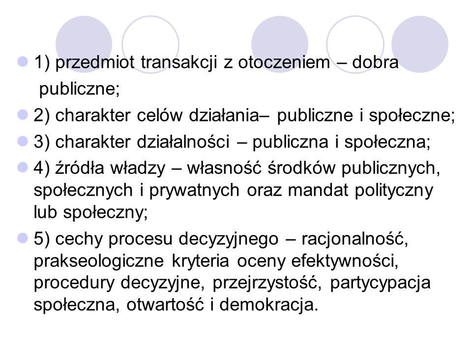 1) przedmiot transakcji z otoczeniem – dobra publiczne; 2) charakter celów działania– publiczne i społeczne; 3) charakter działalności – publiczna i s