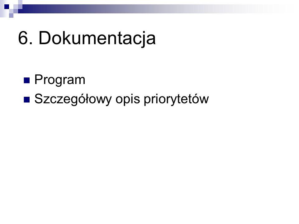 6. Dokumentacja Program Szczegółowy opis priorytetów