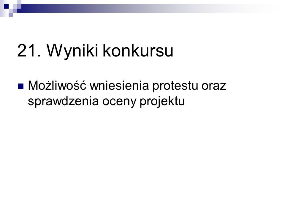21. Wyniki konkursu Możliwość wniesienia protestu oraz sprawdzenia oceny projektu