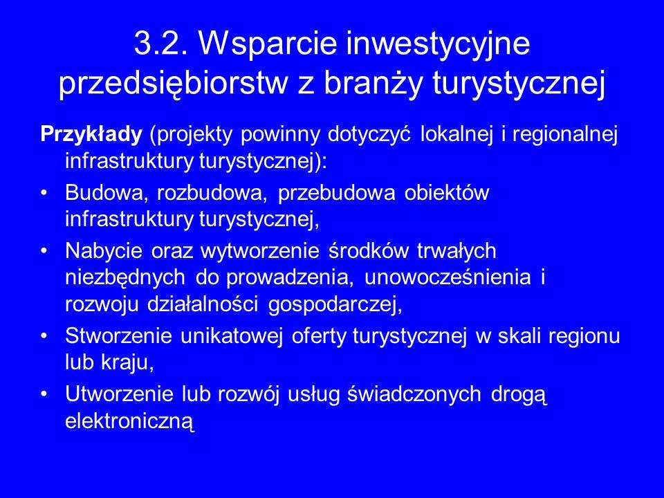3.2. Wsparcie inwestycyjne przedsiębiorstw z branży turystycznej Przykłady (projekty powinny dotyczyć lokalnej i regionalnej infrastruktury turystyczn