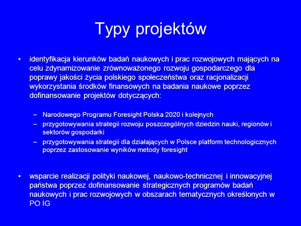 Typy projektów identyfikacja kierunków badań naukowych i prac rozwojowych mających na celu zdynamizowanie zrównoważonego rozwoju gospodarczego dla pop