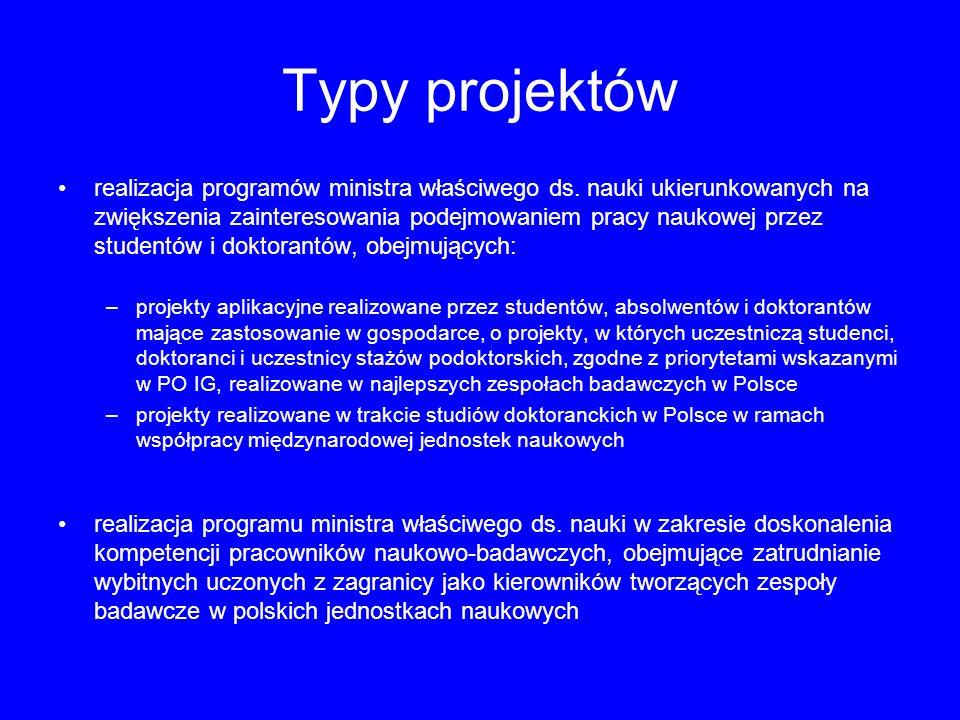 Typy projektów realizacja programów ministra właściwego ds. nauki ukierunkowanych na zwiększenia zainteresowania podejmowaniem pracy naukowej przez st