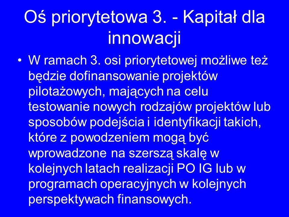 Oś priorytetowa 3. - Kapitał dla innowacji W ramach 3. osi priorytetowej możliwe też będzie dofinansowanie projektów pilotażowych, mających na celu te
