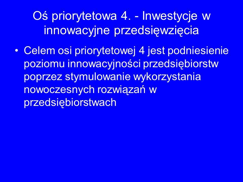 Oś priorytetowa 4. - Inwestycje w innowacyjne przedsięwzięcia Celem osi priorytetowej 4 jest podniesienie poziomu innowacyjności przedsiębiorstw poprz