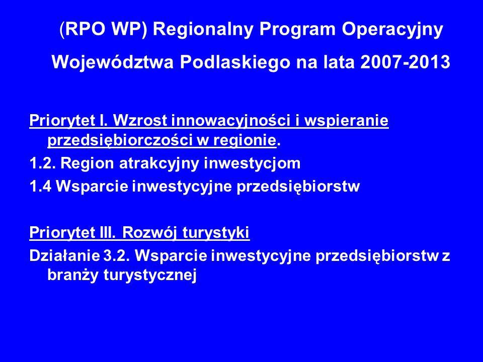 (RPO WP) Regionalny Program Operacyjny Województwa Podlaskiego na lata 2007-2013 Priorytet I. Wzrost innowacyjności i wspieranie przedsiębiorczości w