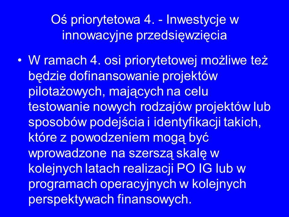 Oś priorytetowa 4. - Inwestycje w innowacyjne przedsięwzięcia W ramach 4. osi priorytetowej możliwe też będzie dofinansowanie projektów pilotażowych,