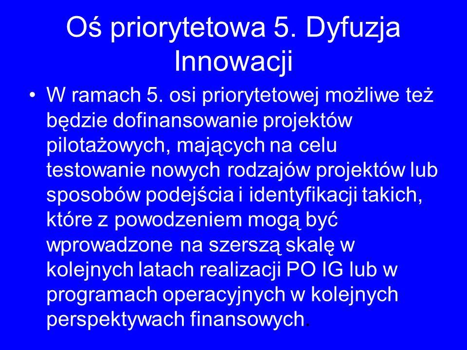 Oś priorytetowa 5. Dyfuzja Innowacji W ramach 5. osi priorytetowej możliwe też będzie dofinansowanie projektów pilotażowych, mających na celu testowan