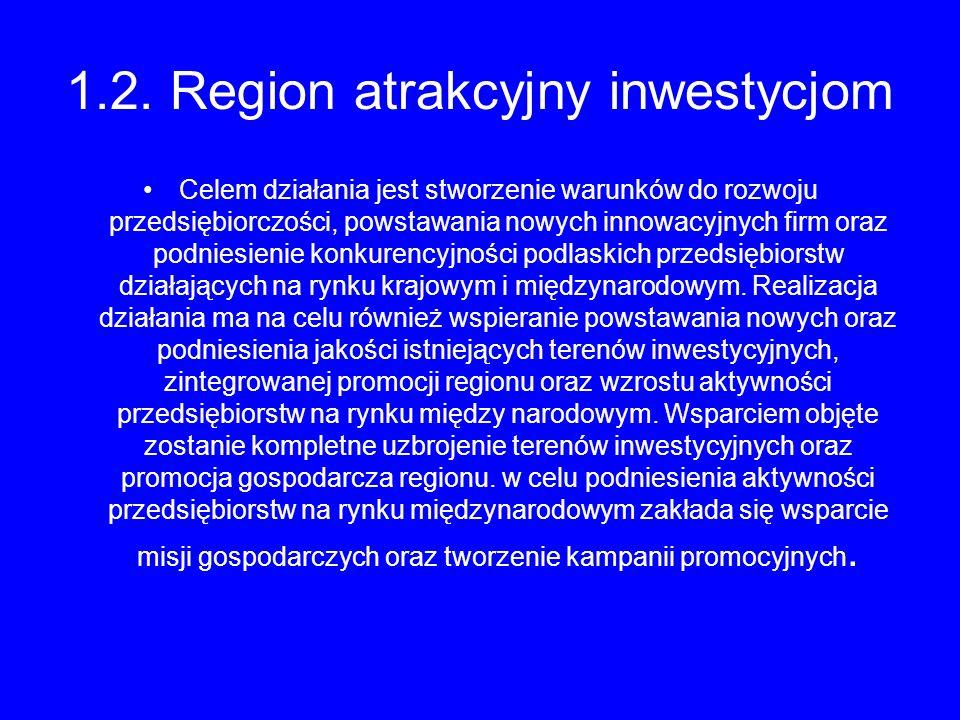 1.2. Region atrakcyjny inwestycjom Celem działania jest stworzenie warunków do rozwoju przedsiębiorczości, powstawania nowych innowacyjnych firm oraz