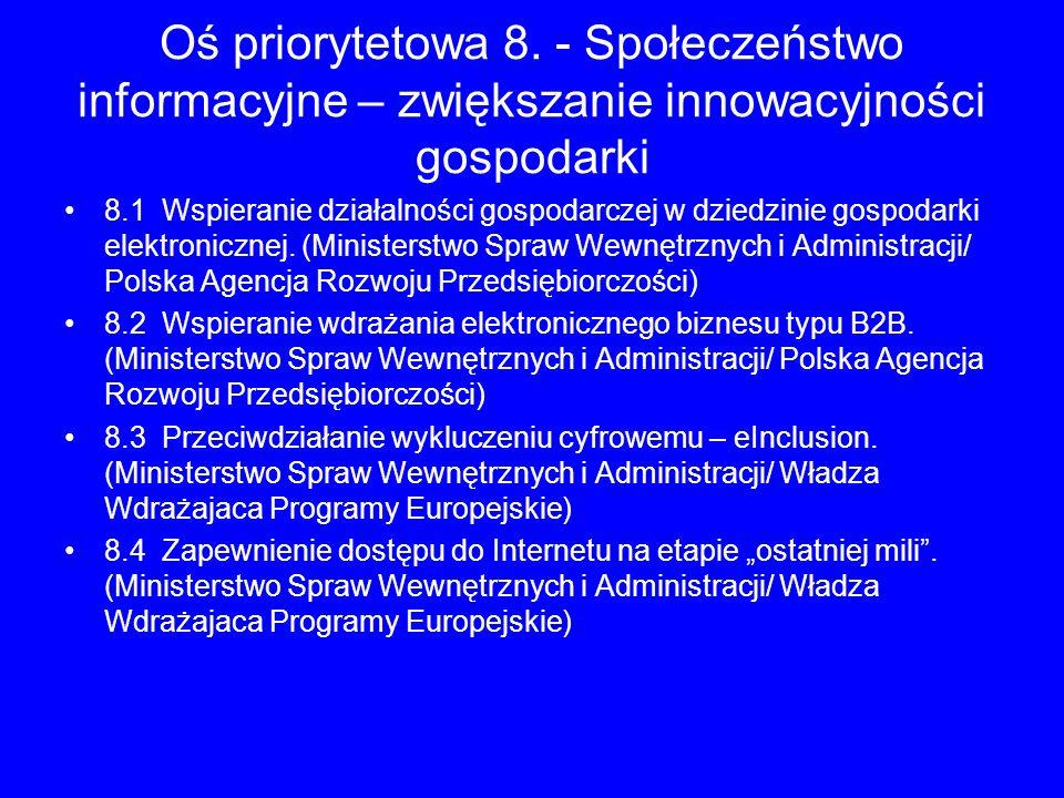 Oś priorytetowa 8. - Społeczeństwo informacyjne – zwiększanie innowacyjności gospodarki 8.1 Wspieranie działalności gospodarczej w dziedzinie gospodar